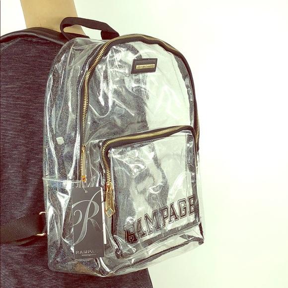 Rampage Handbags - Rampage 🌟 Clear Glitter Varsity Logo Backpack NWT